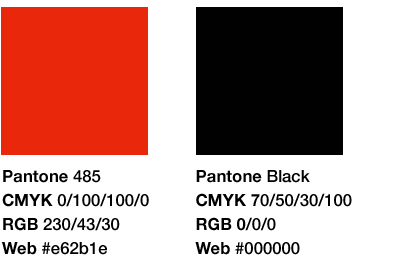 Pantone colors: Red and Black
