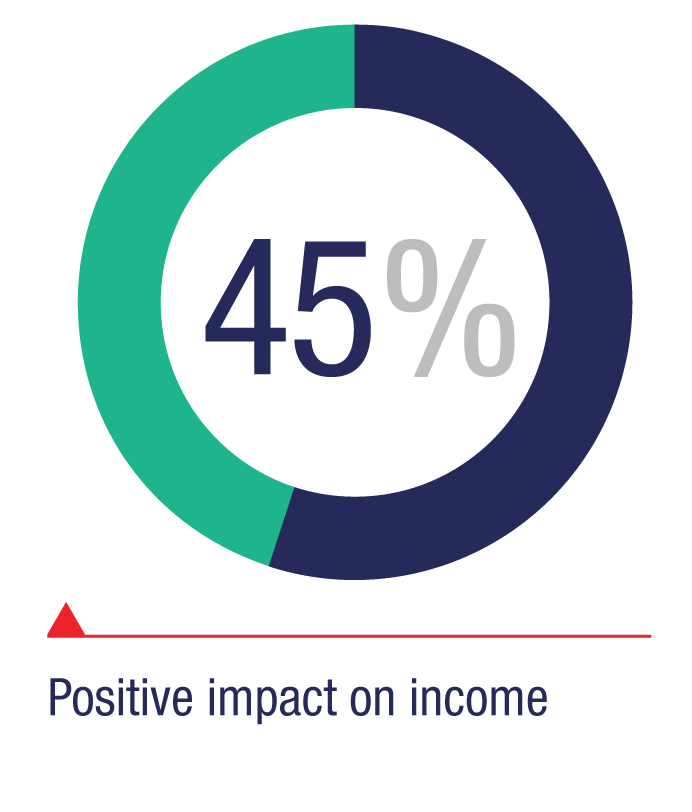 Positive impact on income: 45%