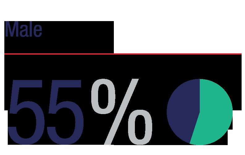 Male: 55%