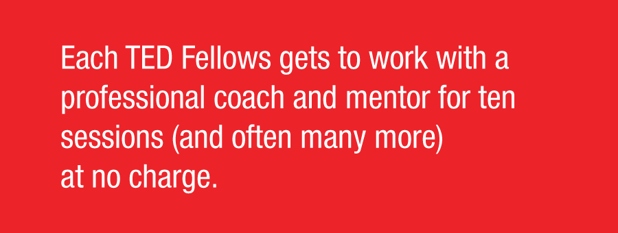 Each TED Fellow gets to work with a professional coach and mentor for ten sessions (and often many more) at no charge.