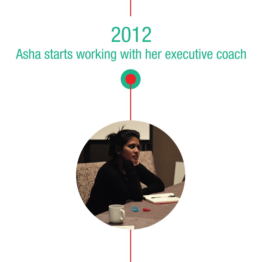 2012: Asha starts working with her executive coach