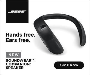 Hands free. Ears free. Bose soundwear companion speaker image.