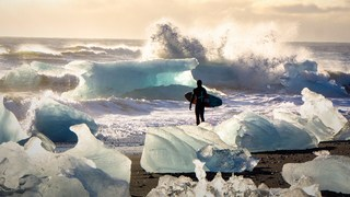 The joy of surfing in ice-cold water
