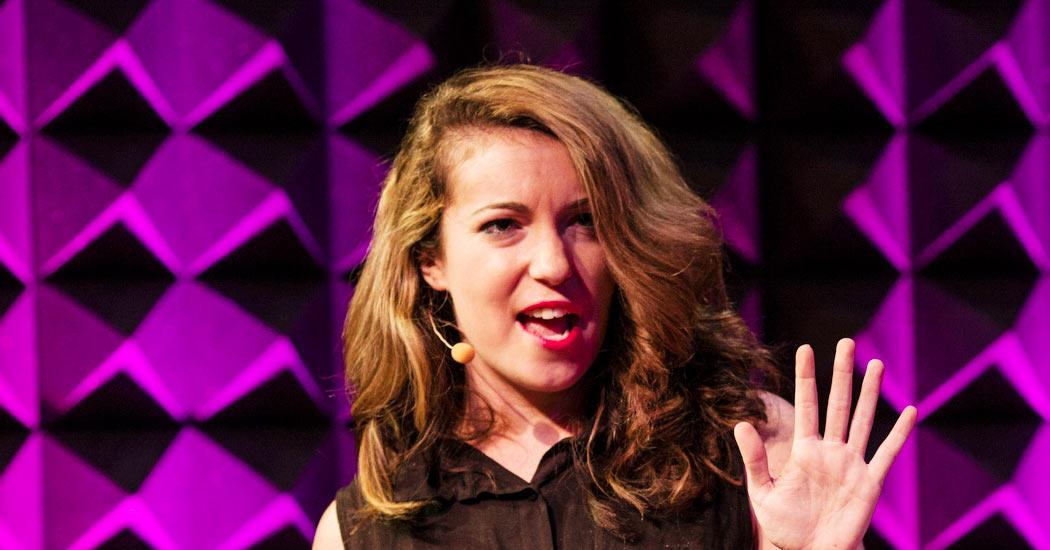 Writer Hannah Brencher doing a TED talk