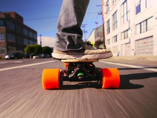 A skateboard, with a boost
