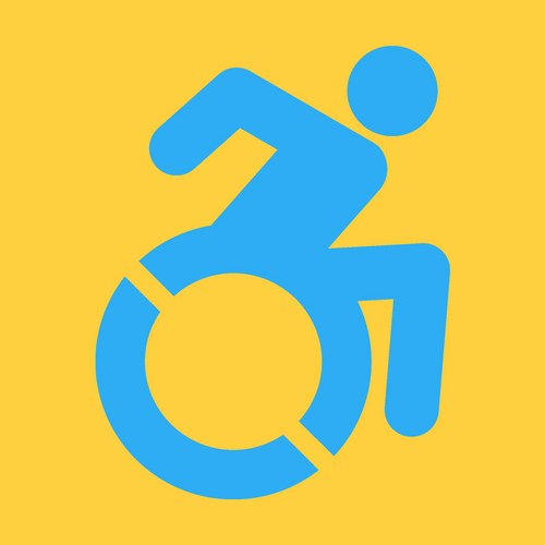 wheelchair travelling at speed logo