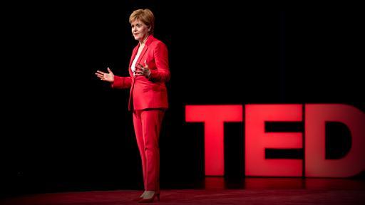Nicola Sturgeon on a TED talk stage