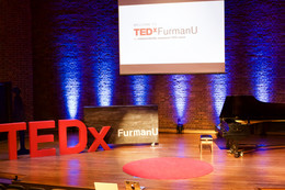 TEDXFurman's set up on stage